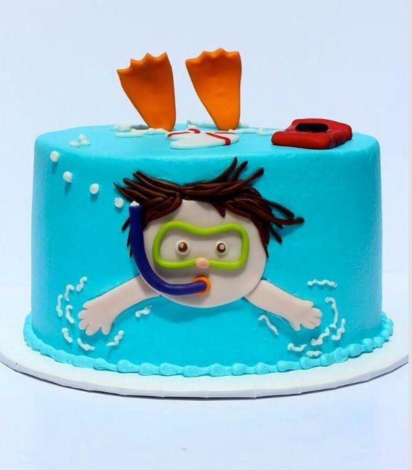 Birthday cake, snorkeling, beach, swimming theme