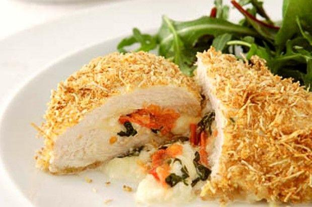 Tana Ramsay's whole grain chicken breast stuffed with mozzarella