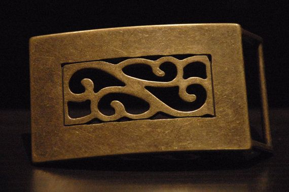 Vintage Brass Belt Buckle  For Snap Leather by CUERO925LEATHER