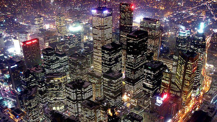 Bright Lights, Big City.  Downtown at night