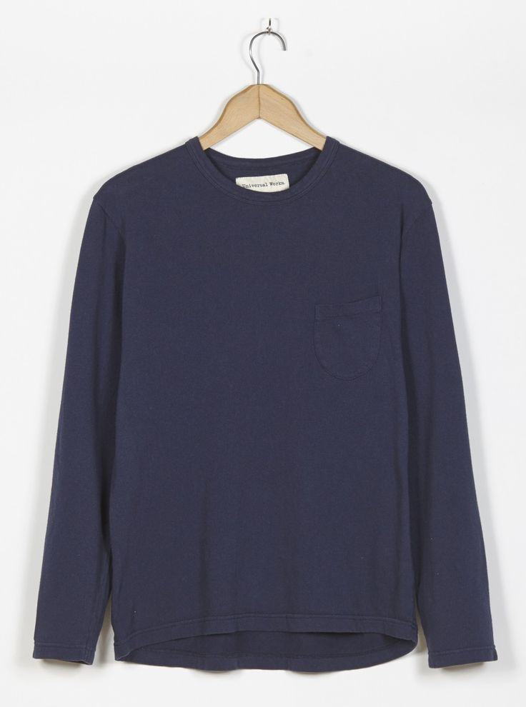Universal Works L/S Pocket Tee in Navy Marl Luxury Jersey