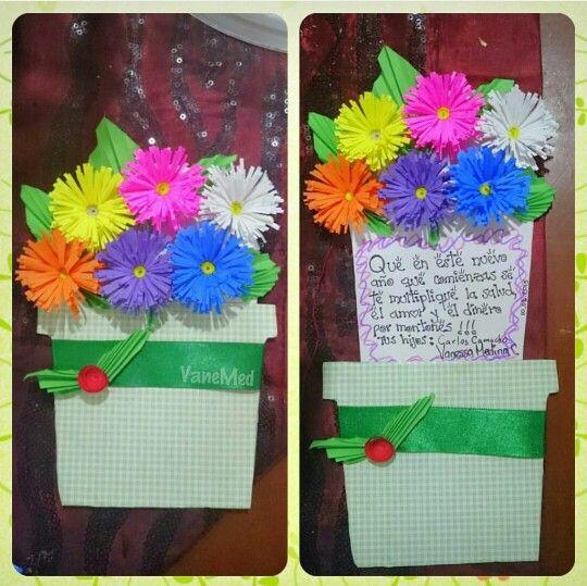 Tarjeta de cumple para mamá #diy #flores #flowers #card
