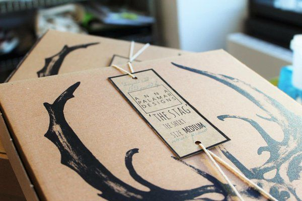 Packaging for the Stag  screen-printed T-shirts