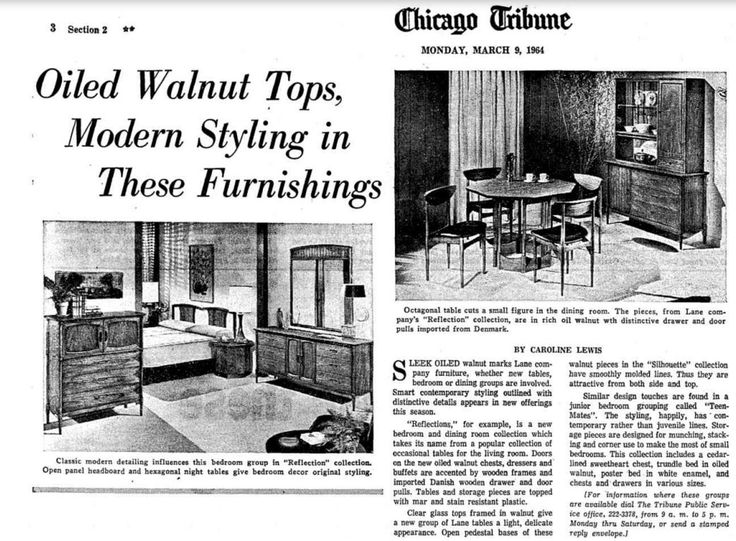 1964 Article In The Chicago Tribune Newspaper About Lane U0027Reflectionu0027,  U0027Silhouetteu0027 · Tribune NewspaperLane FurnitureModern FurnitureMid Century  ...