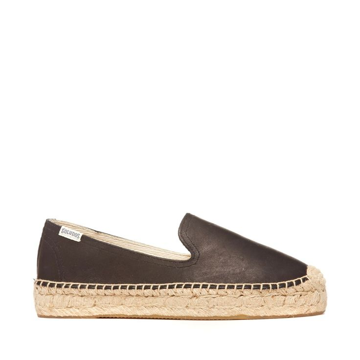 Platform Smoking Slipper Leather Leather Espadrille - Black
