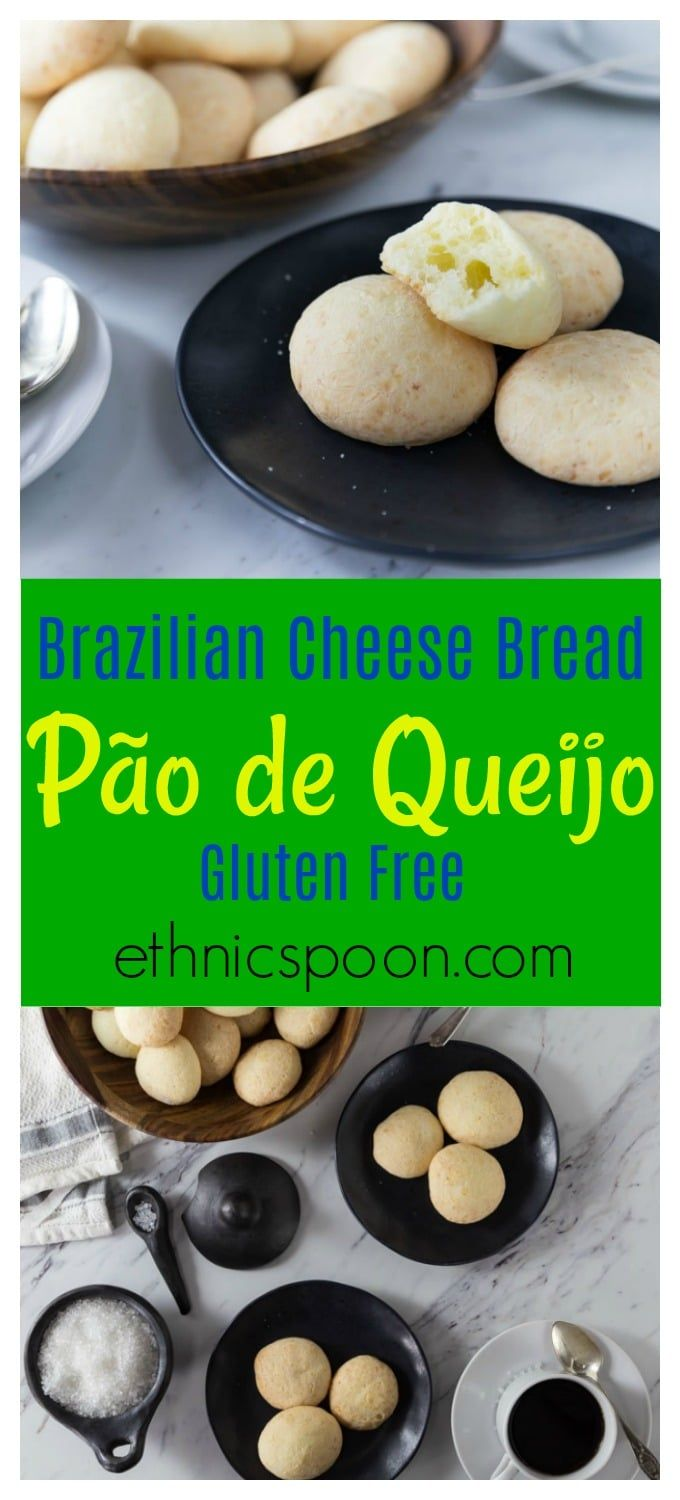 Authentic Brazilian cheese bread or pão de queijo is a no fail recipe. It is super easy to put together and requires no rising time. Tapioca flour makes this delicious bread gluten-free. Have as an appetizer or side. You can also reheat these in a toaster oven for that fresh baked crunchy exterior and soft middle.