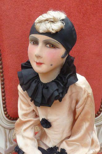 Antique French Boudoir Doll Pierrot Doll Paris 1920 Silk | eBay