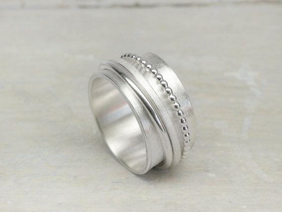 Drehring 3 Elemente, 925 Silber, Silberring mit beweglichen Ringen, Bandring, Familienring