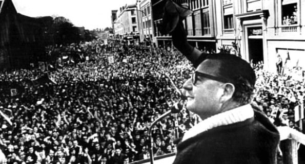 Communist president Salvador Allende gives his inauguration speech to a huge crowd after becoming the first Marxist-Leninist president to come to power by general elections, 1970.