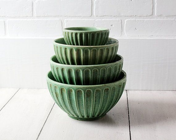 Green!! Set of 4 Vintage Bowls  Green Pottery Nesting by ZinniaCottage, $95.00