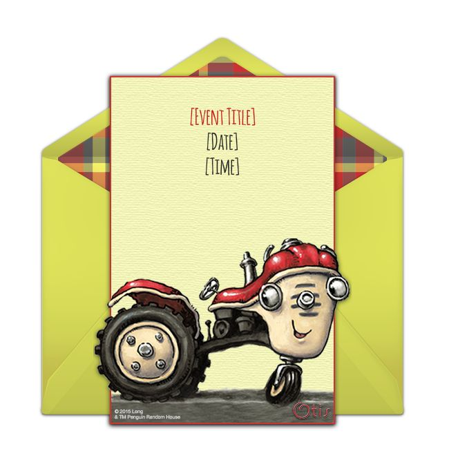 otis the tractor. a sweet, free otis the tractor party invitation featuring charming art from beloved picture