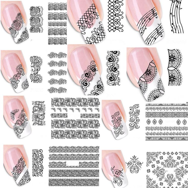 20 stks Gemengde Mode Sex Zwart Kant Wijnstok Charm Nail Art Stickers Water Transfer Decals Wraps Nail Art Tattoos DIY Printing