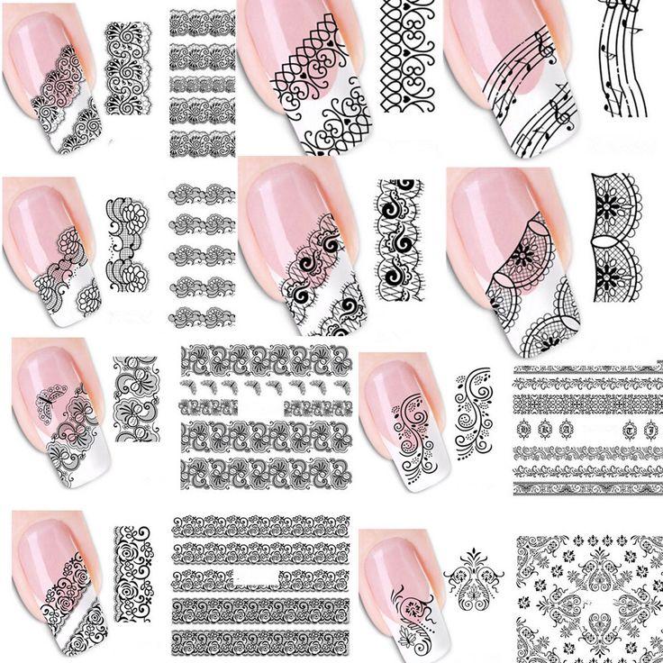 20 stks Gemengde Mode Sex Zwart Kant Wijnstok Charm Nail Art Stickers Water Transfer Decals Wraps Nail Art Tattoos DIY Printing