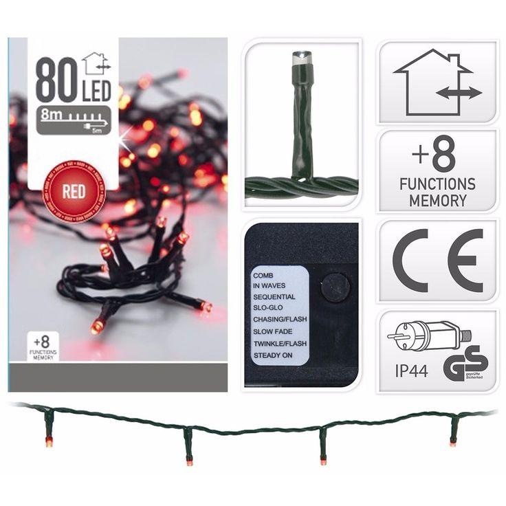 LED verlichting rood knipper 80 lampjes  Kerstverlichting rood 80 LED lampjes. Geschikt voor binnen- en buitenshuis gebruik. IP44. Totale lengte: 23 m. Aanloopsnoer: 5 m. Lengte met strengen: 18 m. afstand tussen lampjes: 10 cm. 8 verschillende knipperfuncties.  EUR 9.95  Meer informatie