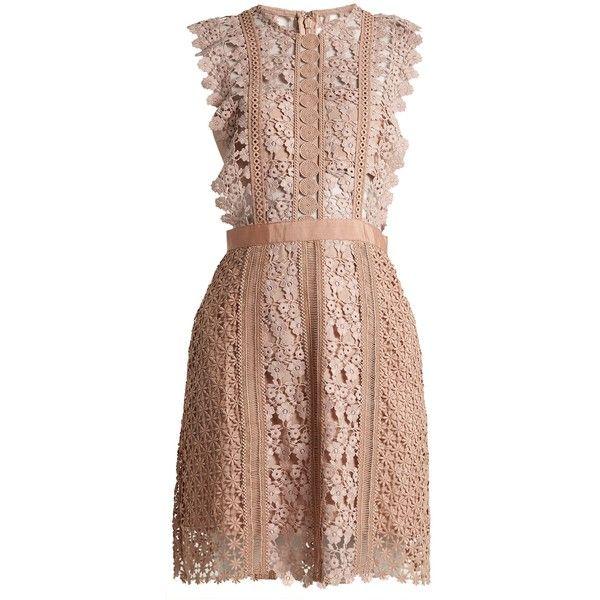 Self-portrait Daisy-vine lace mini dress ($495) ❤ liked on Polyvore featuring dresses, mini dresses, nude, flower print dress, short dresses, nude lace dress, daisy lace dress and floral dresses