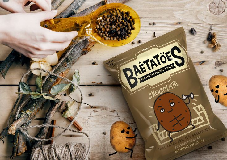 BAETATOES on Behance packaging design for potato chips, doodle, canvas, drawing, illustration, cute potato , creative packaging, designer,