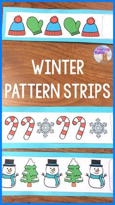 Use these 9 FREE Pattern Strips for Winter at your primary math center! Great for Kindergarten & First Grade. #patterning
