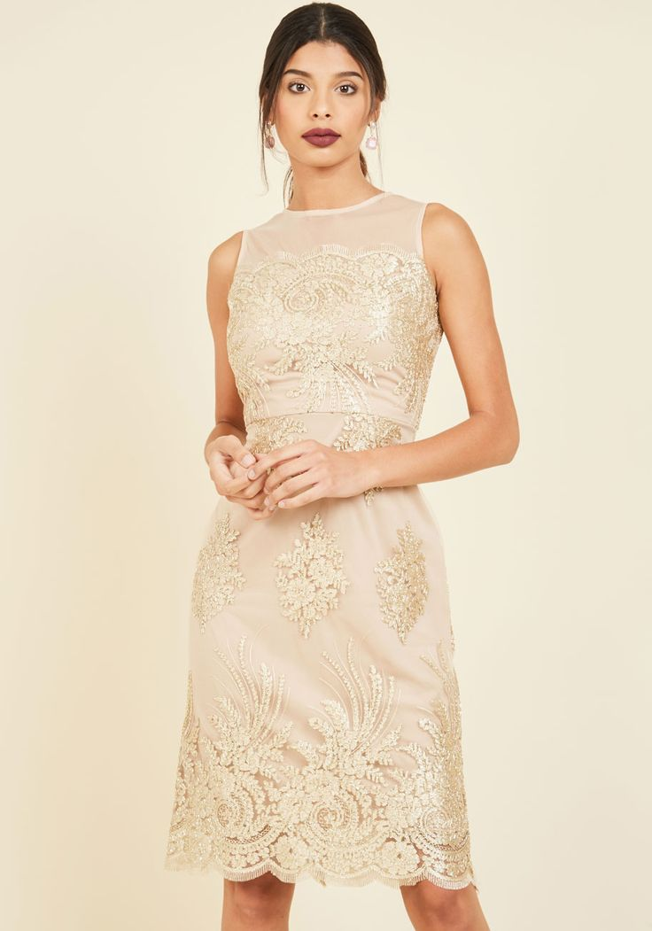 Luxe Illuminations Sheath Dress in Champagne. Let the most refined parts of yourself to shine from the inside out with this floral sheath dress. #gold #modcloth