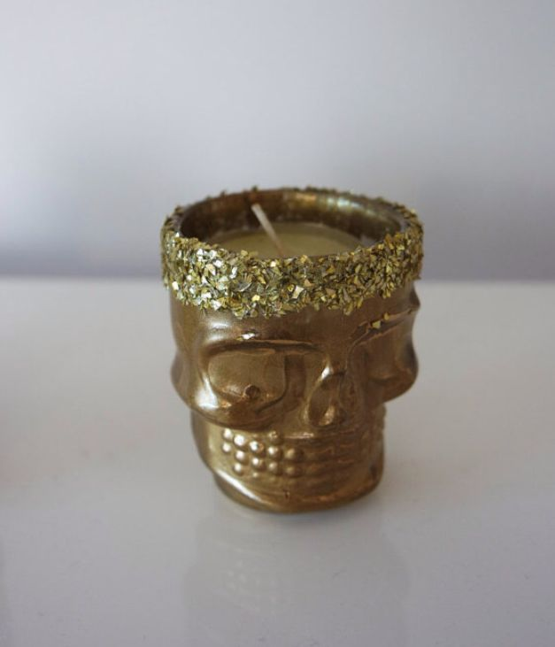 Gold and glitter skull tea light. Candle holder. Glitter crown. Sparkle all day. Gift for her. Present for loved one.