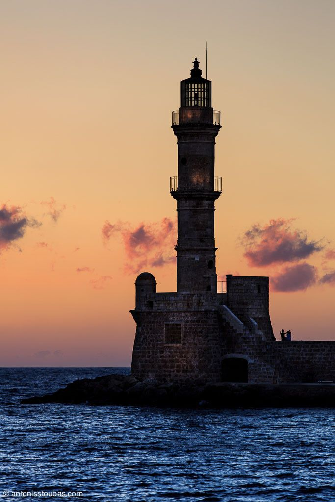 Lighthouse in the old port of Chania, Greece
