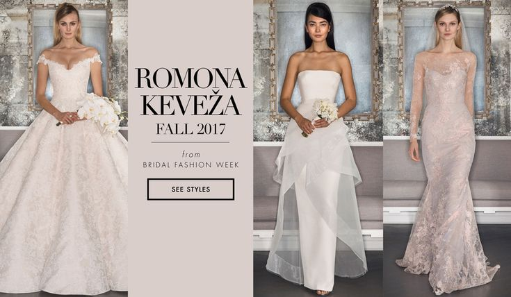Famed designer Romona Keveža has dressed some of Hollywood's biggest stars, including Angelina Jolie, Kate Hudson, Scarlett Johansson, and Oprah Winfrey. With the introduction of her new fall 2017 line of wedding dresses at Bridal Fashion Week in New York City, we are reminded just how much she manages to capture the essence of glamour in each design she creates. This collection features asymmetrical lines, floral patterns, and light splashes of color, gra...