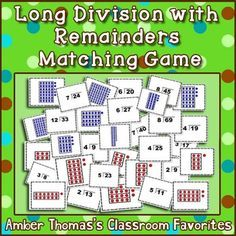 This matching game helps kids visualize long division with remainders in a fun, low stakes game format.  Now with TWO LEVELS of difficulty!  $