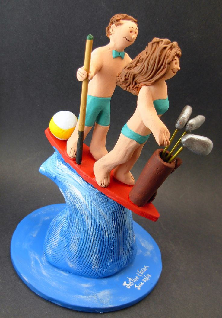 Surfing Golfers Wedding Cake Topper http://www.magicmud.com   1 800 231 9814  magicmud@magicmud.com   $235  https://twitter.com/caketoppers         https://www.facebook.com/PersonalizedWeddingCakeToppers   #golfer#golfing#golfersWedding#golf#wedding #cake #toppers #custom #personalized #Groom #bride #anniversary #birthday#weddingcaketoppers#cake toppers#figurine#gift#wedding cake toppers