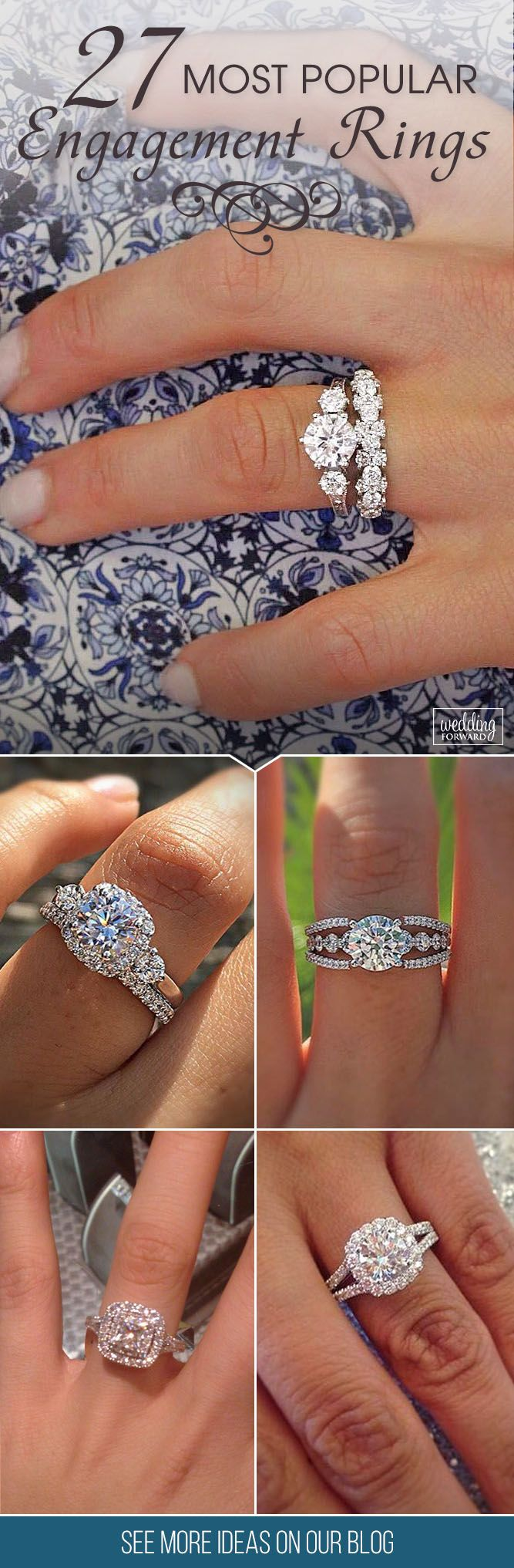 27 Most Popular Engagement Rings For Women ❤ Can't find the right engagement ring for your loved - or yourself? And for inspiration look at our collection of the most popular engagement rings! See more: http://www.weddingforward.com/engagement-rings-for-women/ #wedding #engagement #rings #women