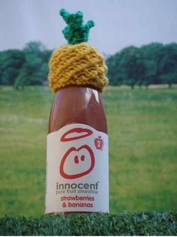 Free knitting pattern for tiny pineapple on Ravelry. Big Knits Charity of Innocent Smoothies