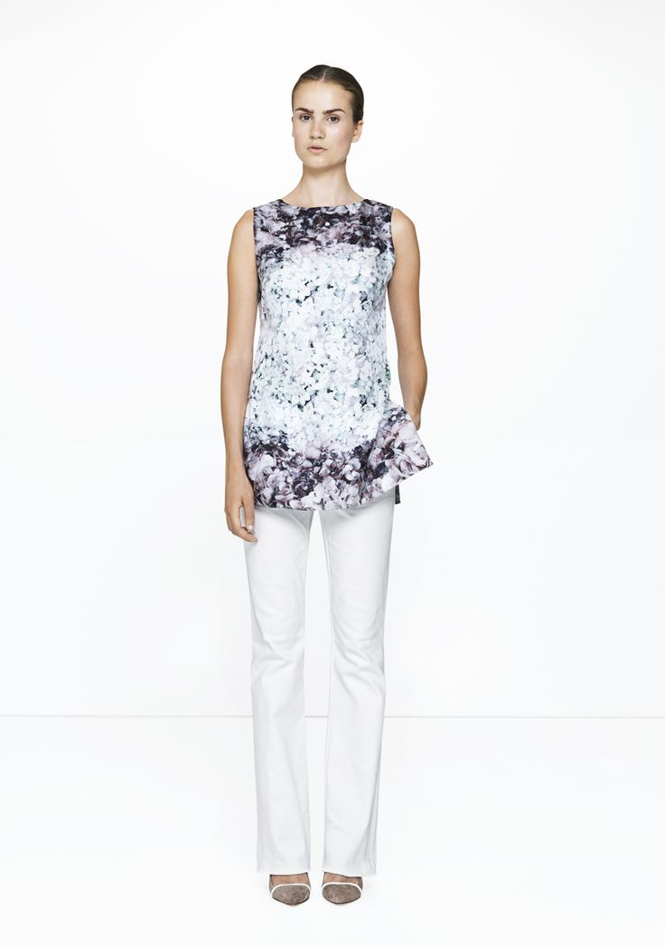 White Brooke pants with floral silk top /455-brooke/249-6714  ELISE GUG SS15