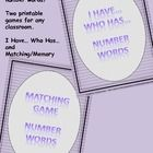 Number Words 1-20 - 2 Games (I Have... Who Has... & Memory/Matching)