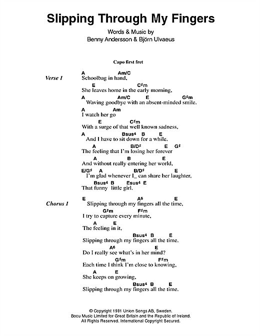 Abba: Slipping Through My Fingers - Lyrics & Chords | Play for slide show
