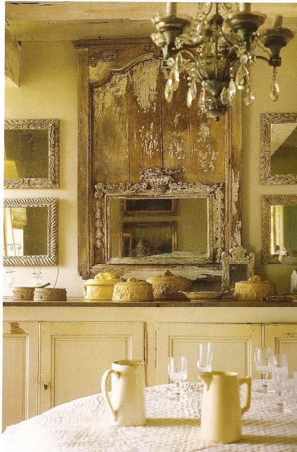 Silver-gilded mirrors and English terra-cotta terrines; Anne GayetDecor, Distressed Wood, Dining Room, Vintage Mirrors, Shabby Chic, Old Wood, New Kitchens, Country Farmhouse, French Country Kitchens