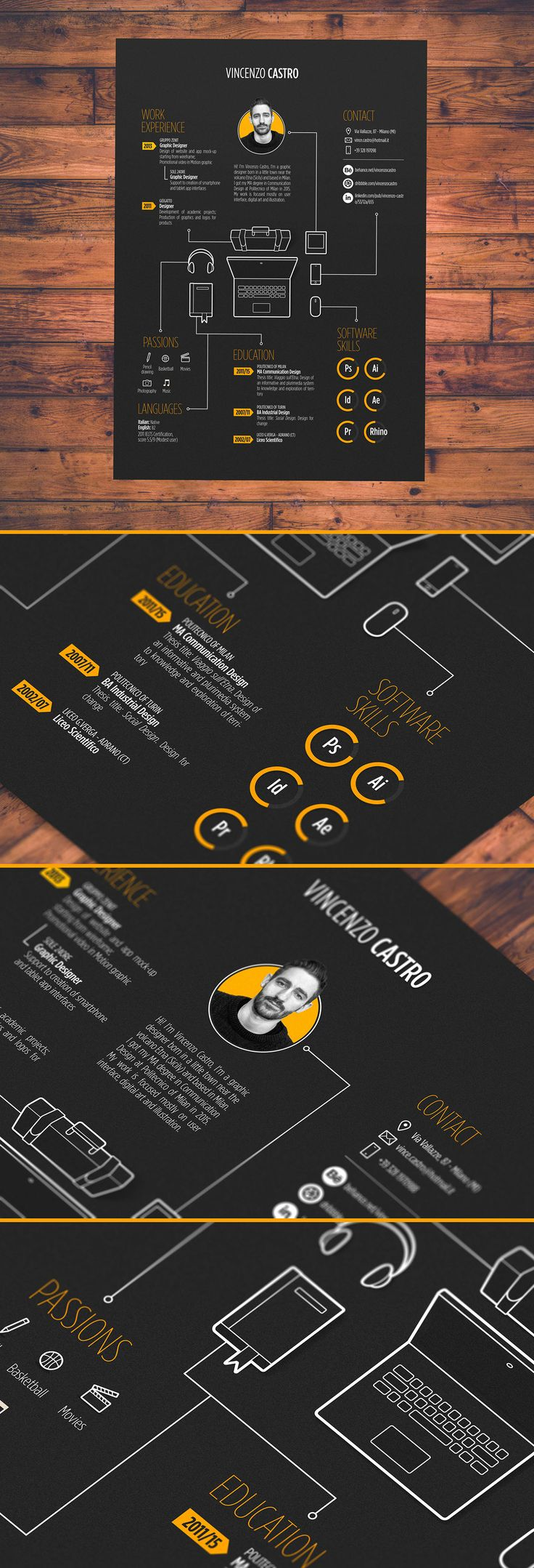 Vincenzo Castro , Graphic Designer , Self Promotion ; Like The Approach Of  A Art Designed CV And The Layout Feels Tidy And Collected.  Graphic Designers Resume