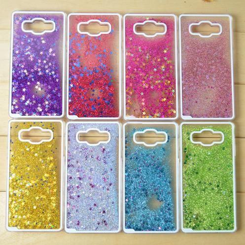 2016 Lovely Glitter Star Liquid Heart Clear Shimmering quicksand case Capa Para Fundas coque case cover for Samsung Galaxy A5 A7