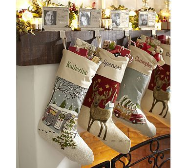 Crewel Embroidered Stocking #potterybarn Got to have the Airstream Camper Stocking! Love Love!