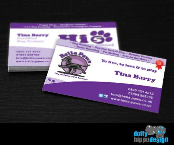 Business card design for Bella Paws