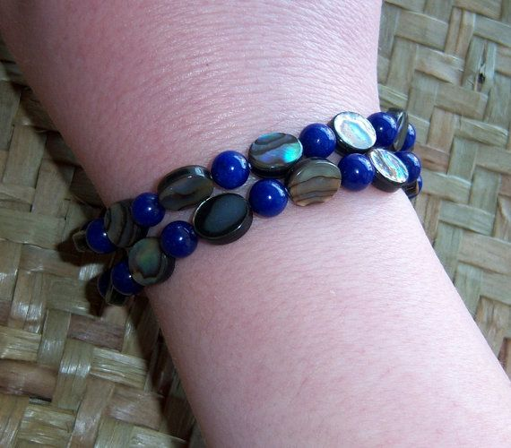 Lapis Lazuli and Abalone Paua Shell Double Stranded Bracelet by OceanicBeads on Etsy, $32.00
