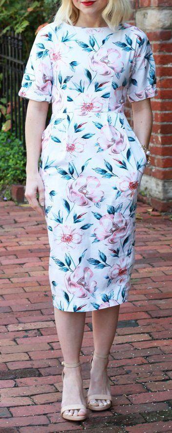 ASOS Floral Petite Wiggle Dress - Poor Little It Girl