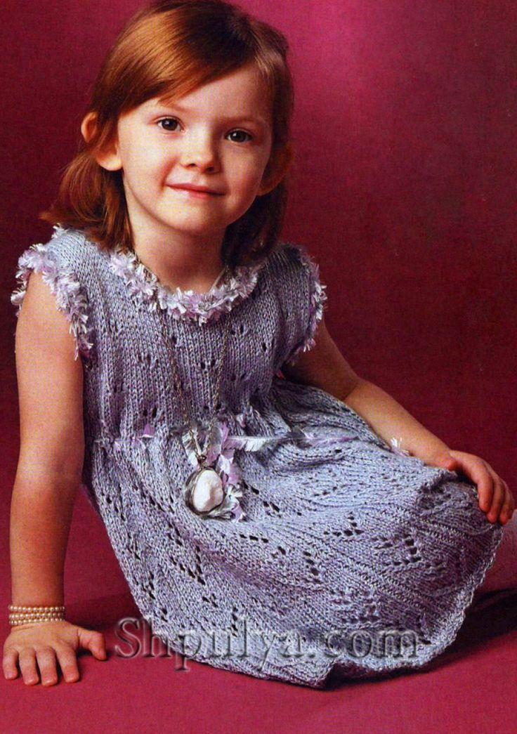 Голубое ажурное платье для девочки, вязаное спицами