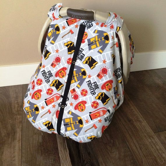 Carseat Canopy READY TO SHIP Fire Fighter flannel on Etsy, $27.99 @Stacee Franklin we need to add this to our collection lol