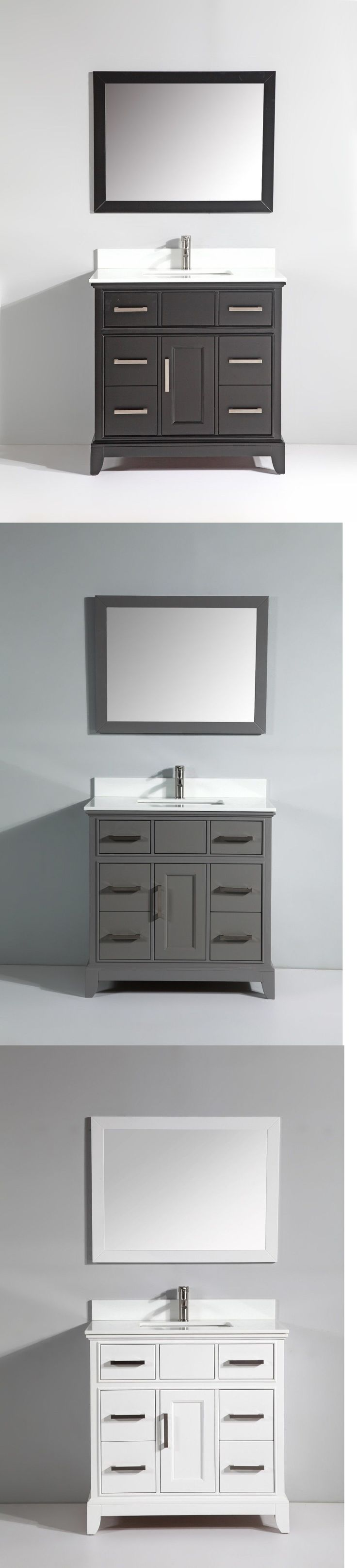 Wyndham collection amare 48 quot dove gray single vanity white man made - Vanities 115625 36 Inch Single Sink Bathroom Vanity Set With White Phoenix Stone Top