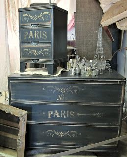 POSTED BY GYPSY FISH, NOVEMBER 14, 2012~ An interesting look for a plain chest of drawers.