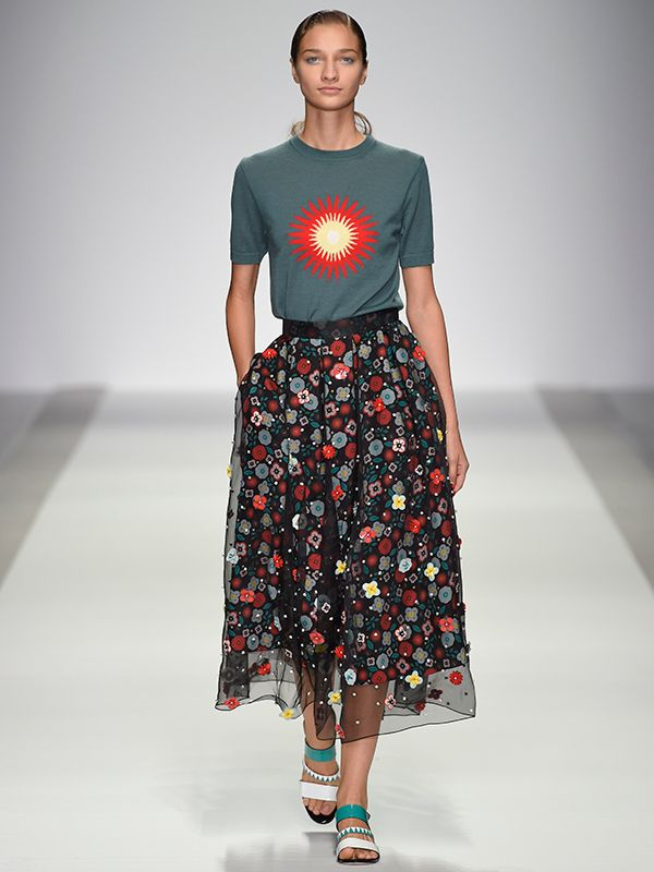 Holly Fulton SS15 Traditional quilting inspiration, realised in cool wool jersey knits with highly embellished skirt.  http://www.merino.com/fashion/cool-wool/holly-fulton-ss15/