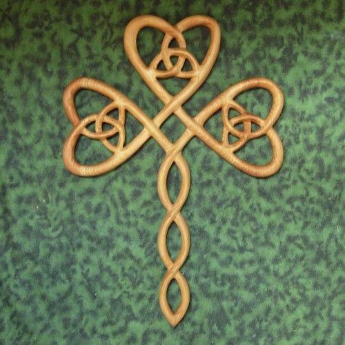 Irish Christian Trinity Shamrock Cross-Three Leafed Clover Wood Carved