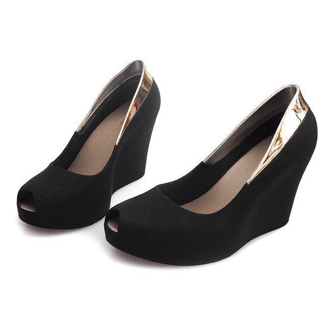 Meliski Na Koturnie Odkryte S22 Czarny Czarne Women Shoes Heels Wedge Heels