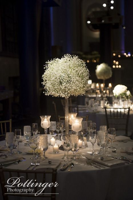 winter wedding decor, white and blue, baby's breath, The Bell Event Centre, Cincinnati, reception photo  Kreutzer and Dorl Florist  www.pottingerphoto.com  www.pottingerphoto.com/blog