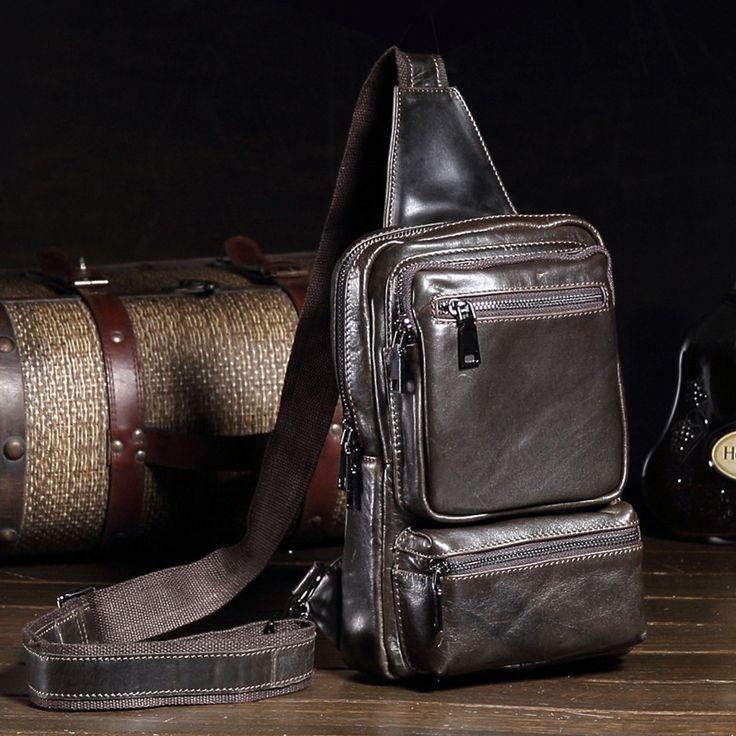 New Fashion Genuine Leather Men Bag Brand Vintage Crossbody Bags Famous Brand Small Men's Messenger Bag Sling Chest Bag YS1245 #Affiliate
