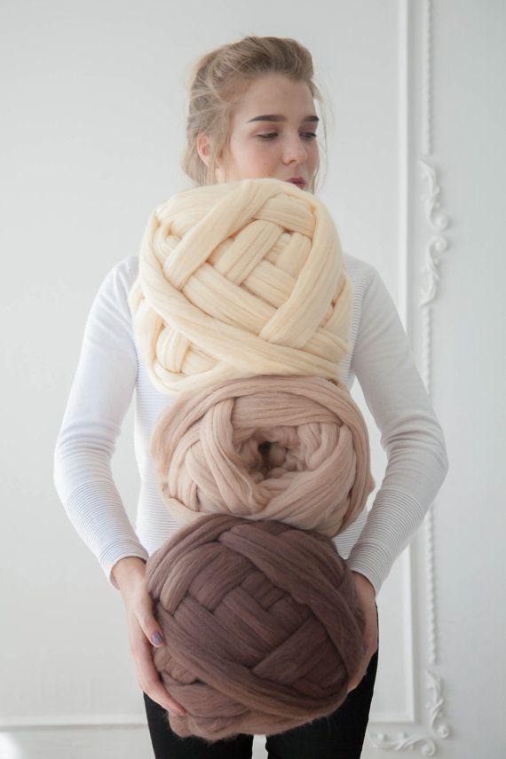 Giant Wool Yarn, Knitting Wool, Bulky Wool, Chunky Yarn, Thick Yarn, Extreme Wool, Merino Wool, Arm Knitting, Weaving, Roving
