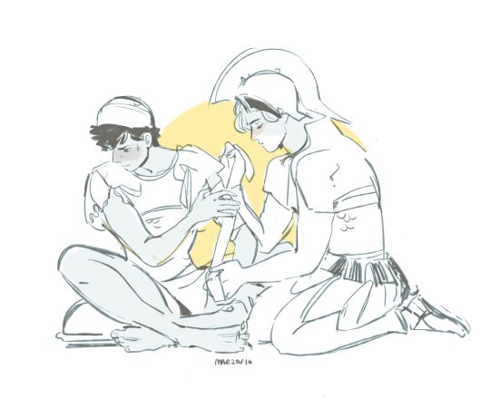 """Achilles tending to Patroclus' injuries. """"Achilles u suck at doing this but i will let u bc ur a sweet baby""""."""